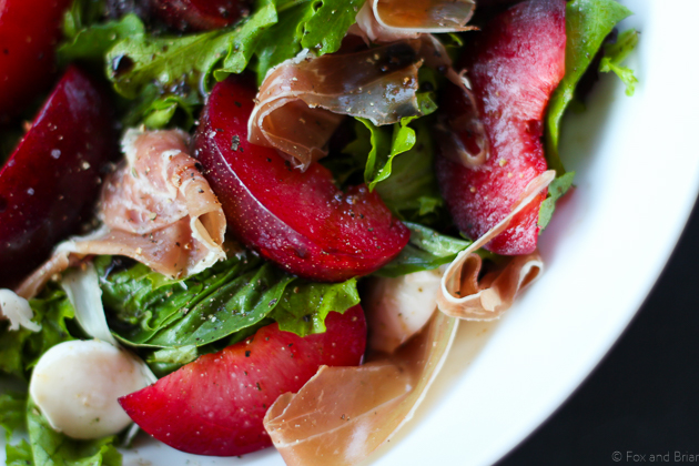 Plum, Mozzarella and Prosciutto Salad on Fox and Briar