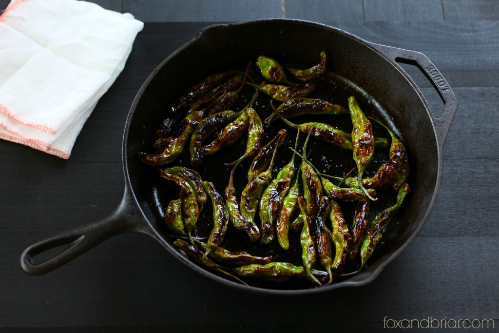 cast iron skillet shishito peppers