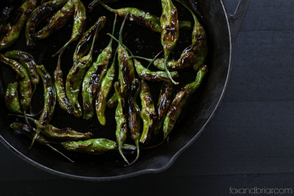 shishito peppers in a cast iron skillet