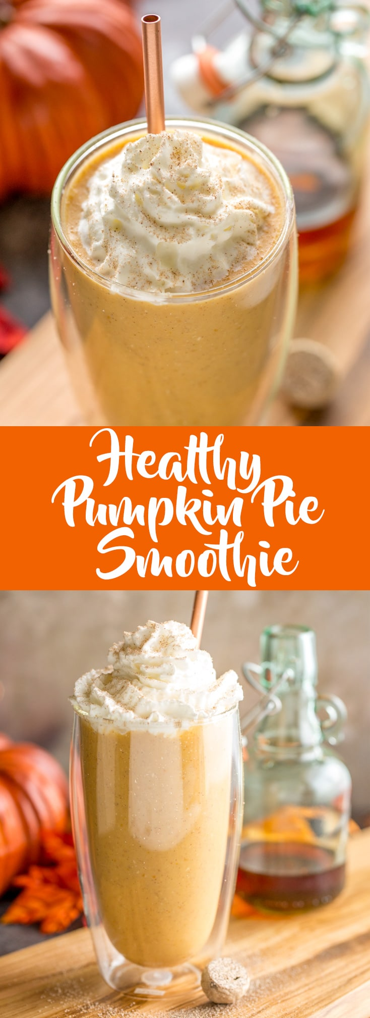This healthy pumpkin pie smoothie will give you your pumpkin spice fix without all the empty calories. | Pumpkin Smoothie | Healthy Pumpkin recipes | Pumpkin Spice Recipe | Fall Smoothies | Fall Recipes | Recipes using canned pumpkin | Leftover Pumpkin Recipes