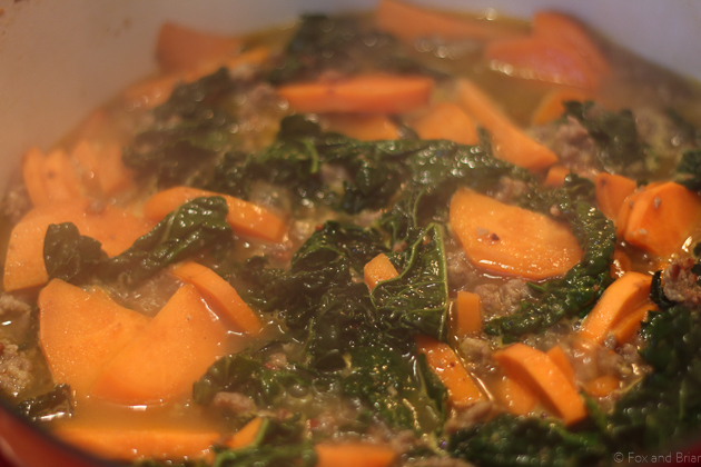 Easy 4 ingredient Sausage, Kale and Sweet Potato Stew