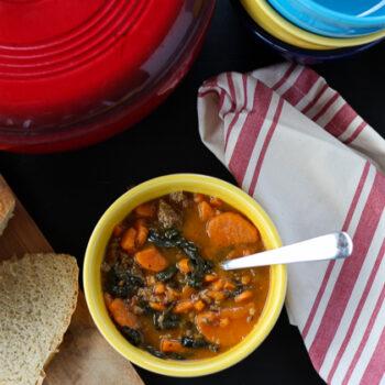 Easy 4 ingredient Sausage, Kale and Sweet Potato Stew