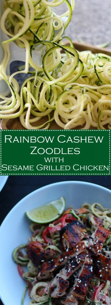 Rainbow Cashew Zoodles with Sesame Grilled Chicken
