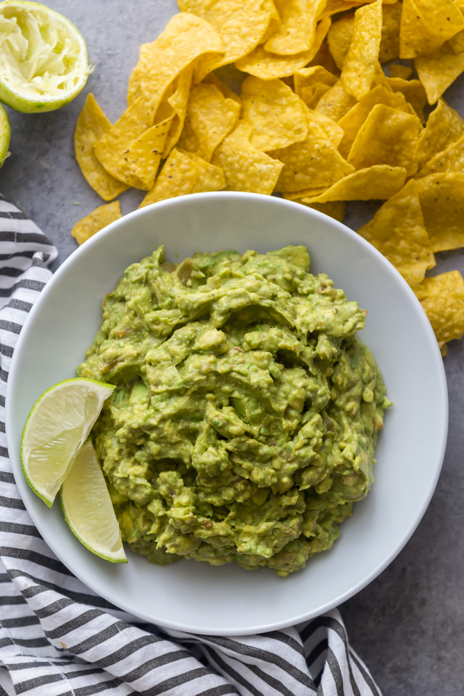 photo of guacamole in a white bowl