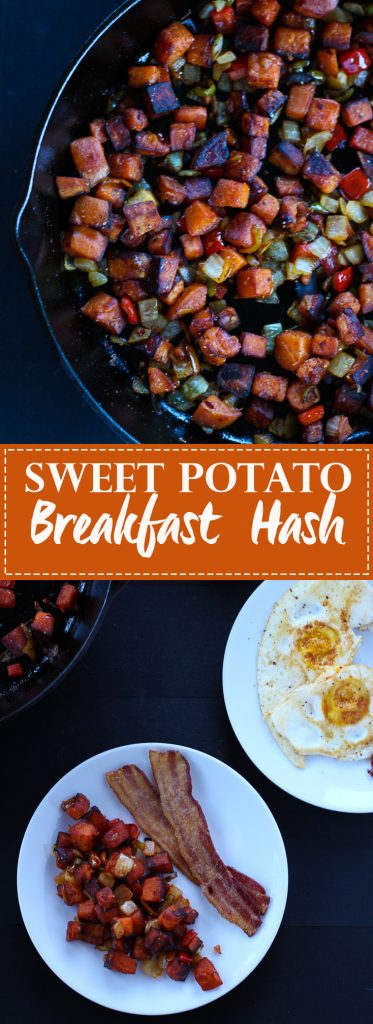 This sweet potato hash is so good! Perfect for breakfast. Gluten free, paleo, vegan vegetarian.
