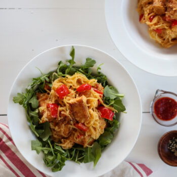 Spicy Peanut Tofu and Spaghetti Squash