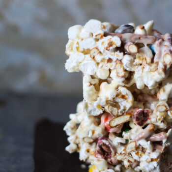 Marshmallow popcorn bars that are stuffed with treats. Plus I made you a playlist!