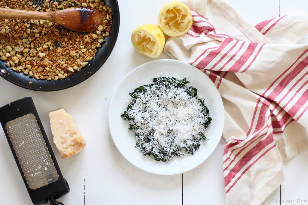 This simple kale salad has 5 ingredients, but it is THE BEST! Based on a salad I had at the fabulous Ava Gene's restaurant in Portland, OR. The kale is massaged, so it is tender, the cheese gives tons of flavor, and homemade breadcrumbs give the perfect crunch.