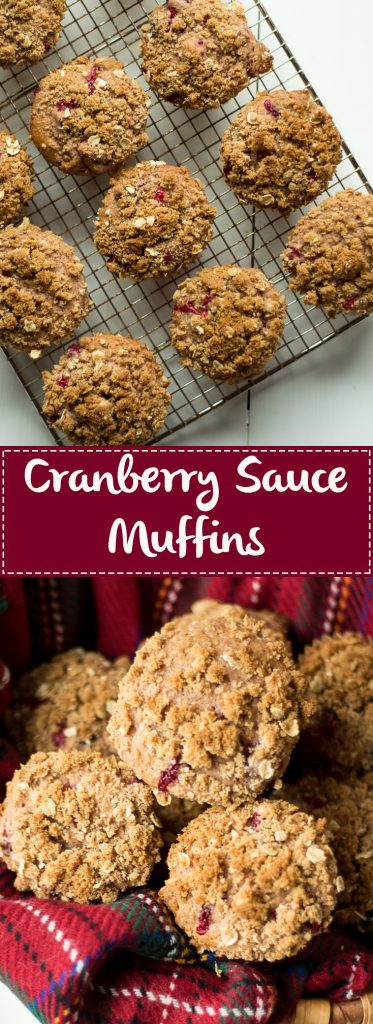 Looking for a way to use up your leftover cranberry sauce? These Leftover Cranberry Sauce Muffins are just the thing! Hints of orange zest, tart cranberries and a brown sugar crumble topping will make these the perfect breakfast the day after Thanksgiving! |Cranberry orange muffins | Leftover cranberry sauce recipes | strudel topping for muffins | thanksgiving leftover recipes
