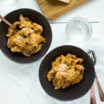 Pumpkin, Gruyere and Goat Cheese Mac and Cheese - This healthier mac and cheese uses pumpkin puree in the sauce, gruyere and goat cheese to make a rich, creamy dish of comfort food.