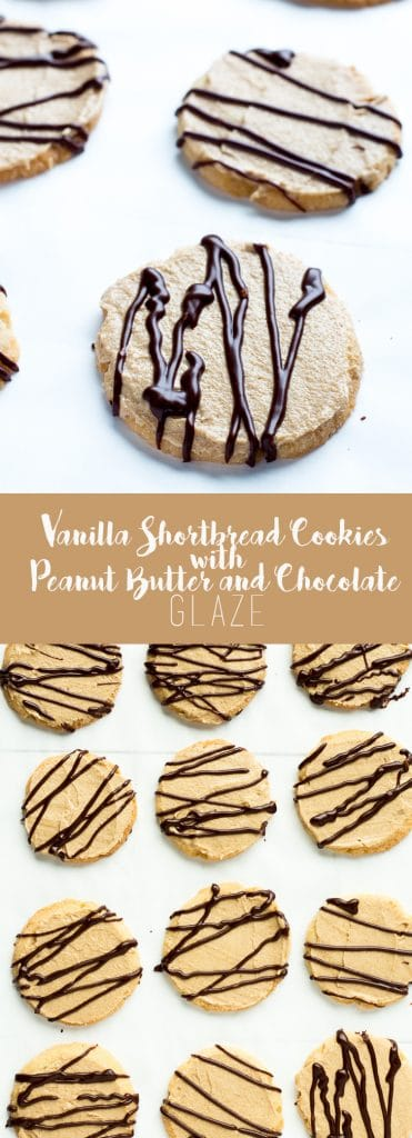 These buttery, delicate vanilla cookies are topped with a whipped peanut butter cream and then drizzled with a rich chocolate glaze.