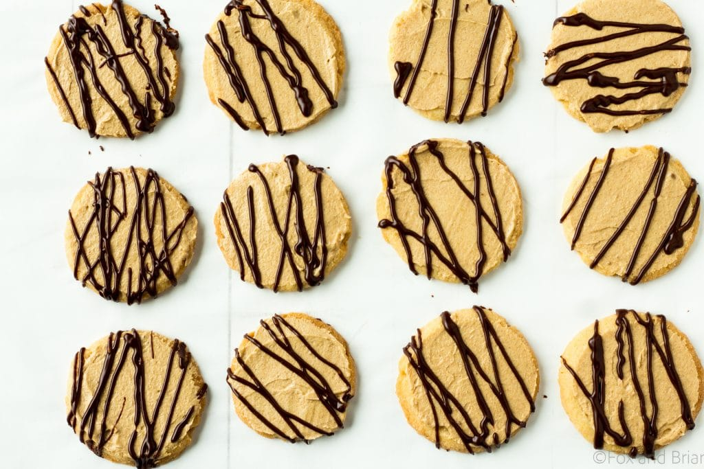 Vanilla Shortbread Cookies with chocolate and peanut butter glaze-26