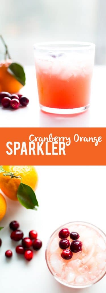 This non alcoholic mocktail is a fun and festive drink with homemade cranberry orange syrup