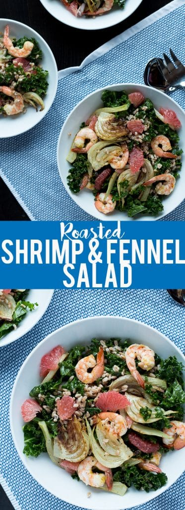 This hearty winter salad has roasted fennel and shrimp with the bright flavor of grapefruit, plus farro and kale for a nutritional powerhouse!