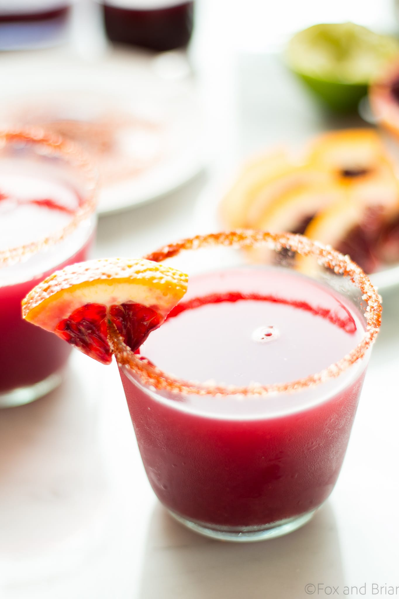 This Fresh Blood Orange Margarita has an optional smoky salted rim. The fresh citrus flavors of the blood orange make this a sweet and tart cocktail, and the smoked paprika salted rim gives it a little something extra.