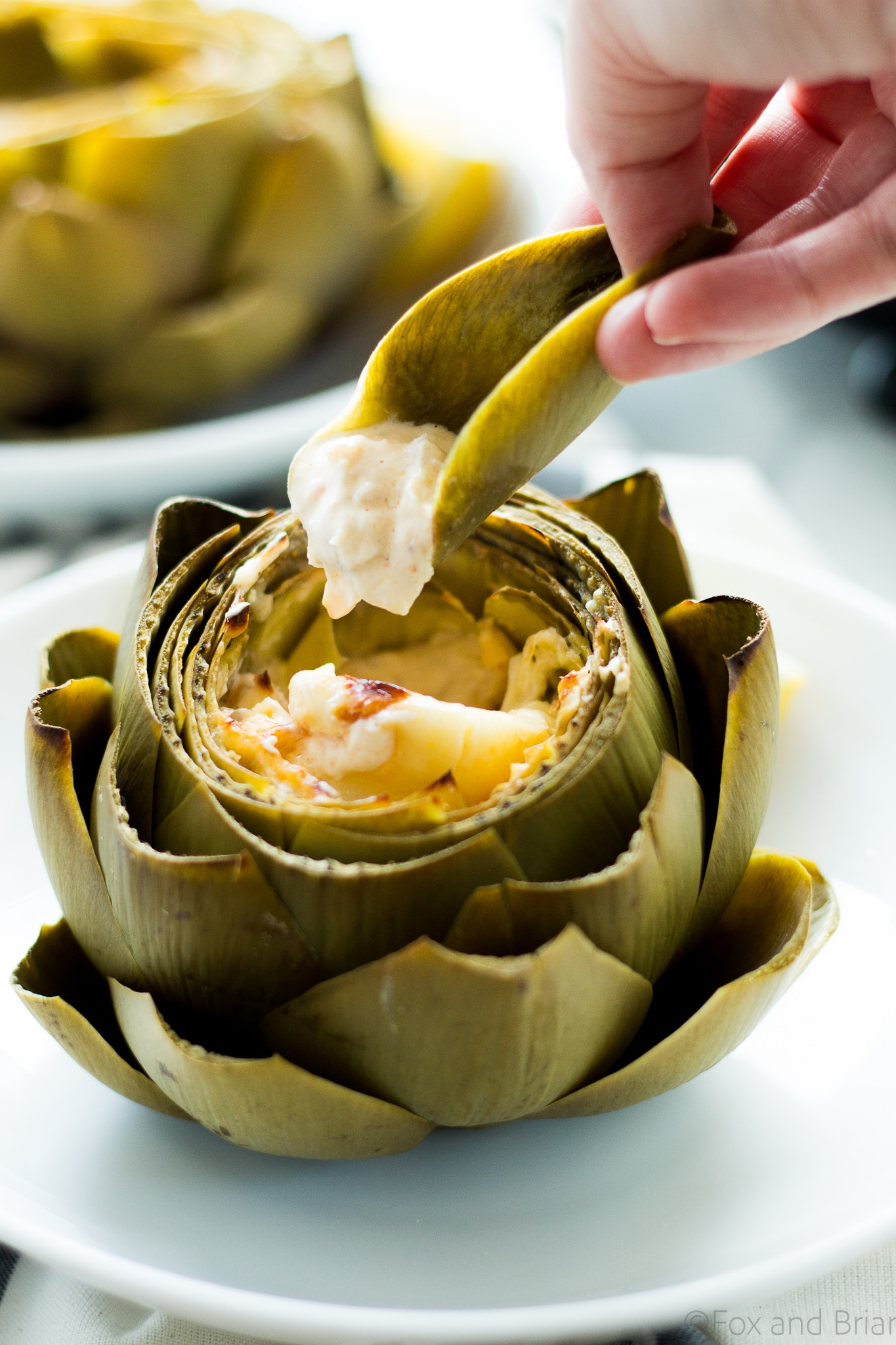 Hot Crab Dip Stuffed Artichokes