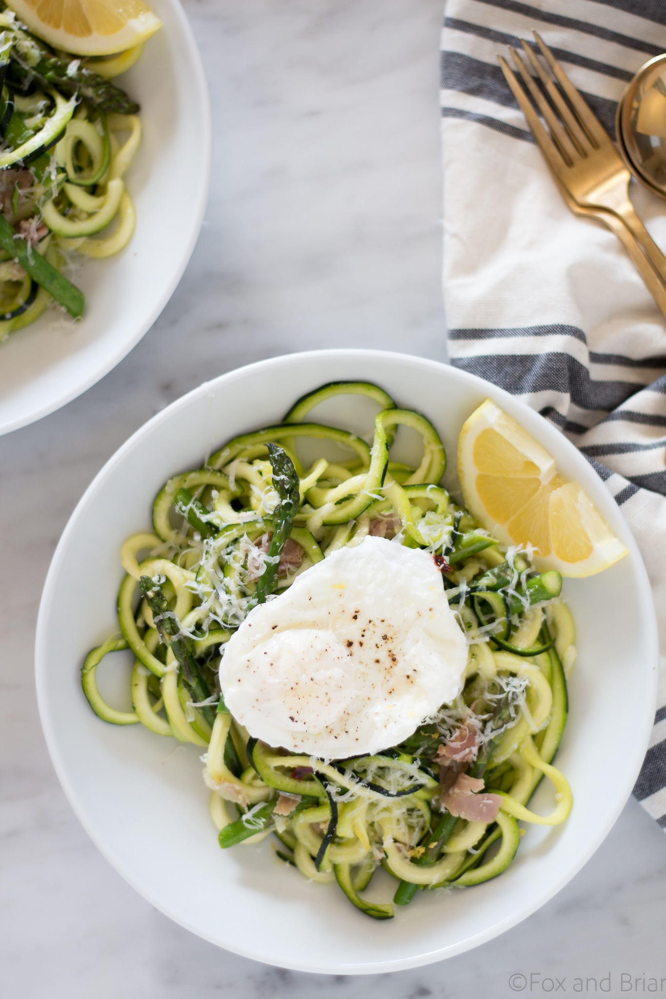 Zoodles with Asparagus and Prosciutto by Fox and Briar