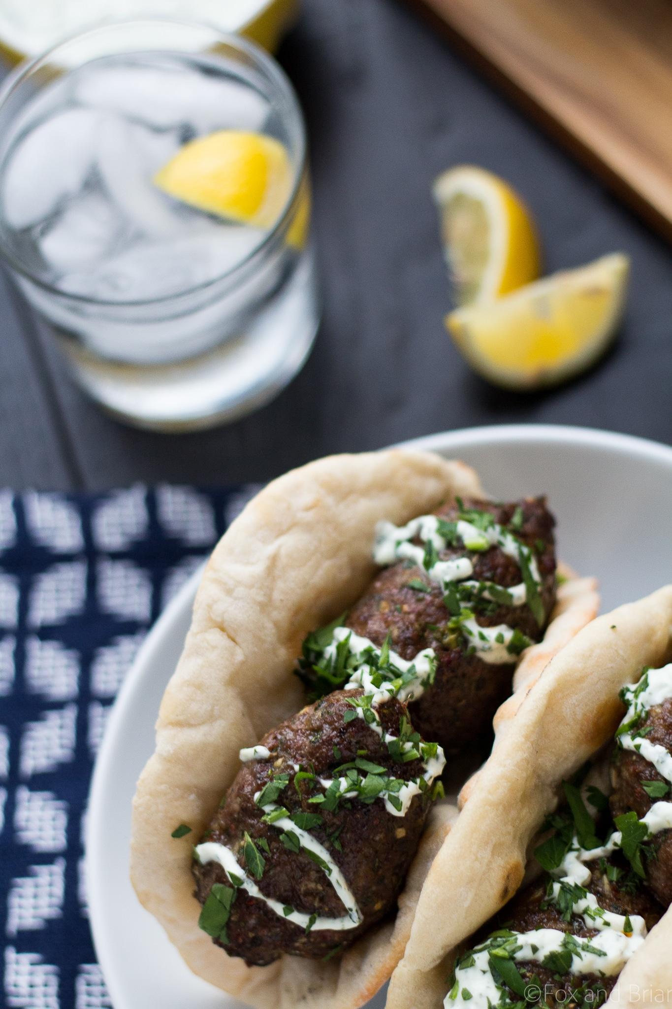 Lamb Kofta Kebabs with Yogurt Mint Sauce - Fox and Briar