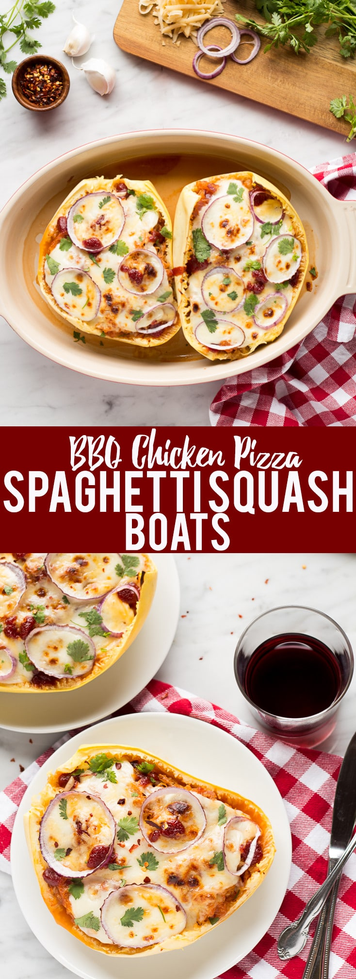 These BBQ Chicken Pizza Spaghetti Squash boats have all the delicious flavors of a BBQ Chicken Pizza - sweet and savory BBQ chicken, red onions and two kinds of cheese, stuffed in a spaghetti squash boat!