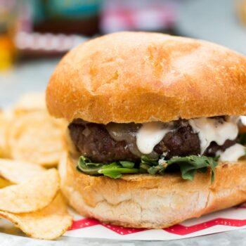 Shallot White Cheddar Burger with Arugul...