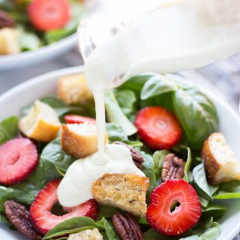 Strawberry Basil Pecan Salad with Goat C...