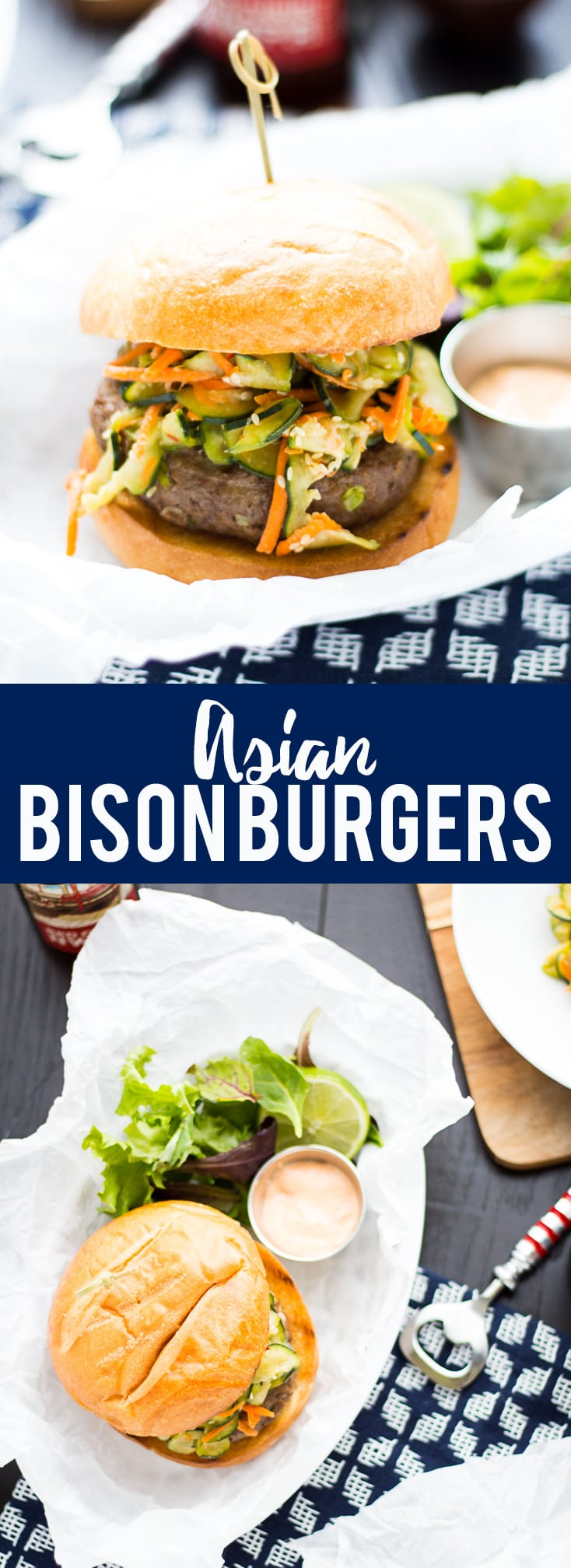 These Asian Bison Burgers are just the thing to change up your grilling routine! Lean ground bison burgers full of asian flavors and topped with a sriracha aioli!