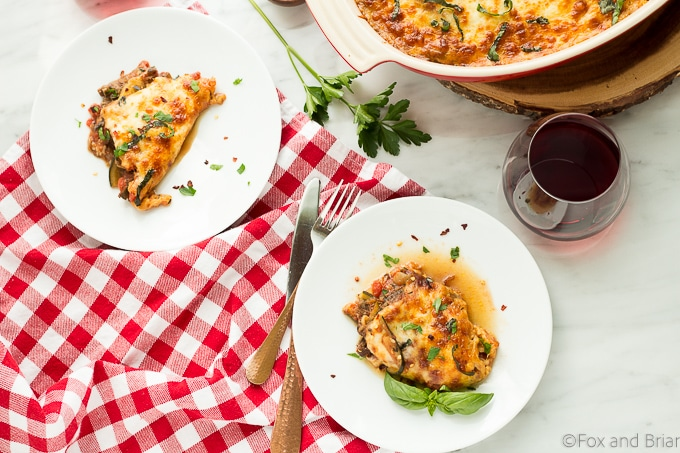 This Mushroom Zucchini Lasagna uses zucchini instead of noodles, has an umami mushroom filling and is topped with bubbling cheese! Even better, it is low carb, gluten-free and vegetarian!
