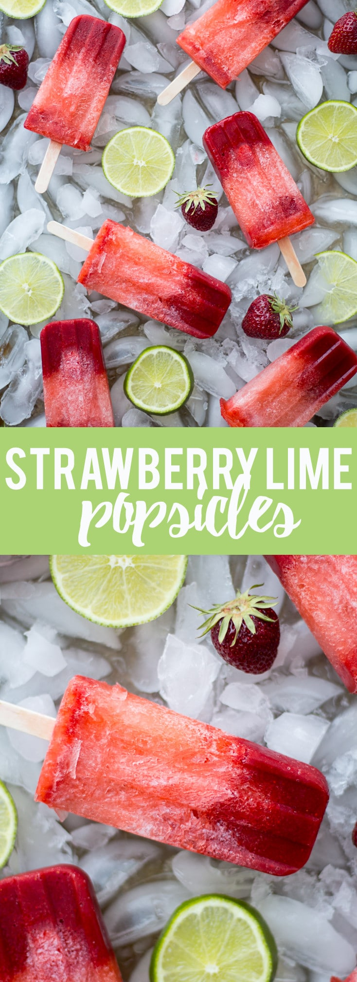 These Strawberry Lime Popsicles are easy to make and require only three ingredients! Whip up this simple recipe and have a cool treat on a hot day.