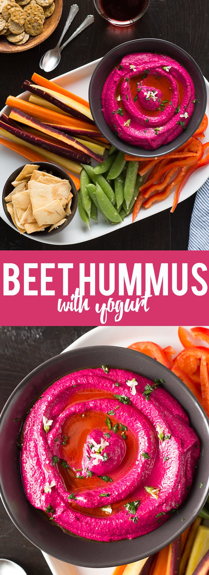 This Creamy Beet Hummus with Yogurt will soon be your favorite way to eat your beets! Roasted beets, tahini and yogurt are blended together to make a creamy and healthy dip with a bright pink color that will blow your mind!