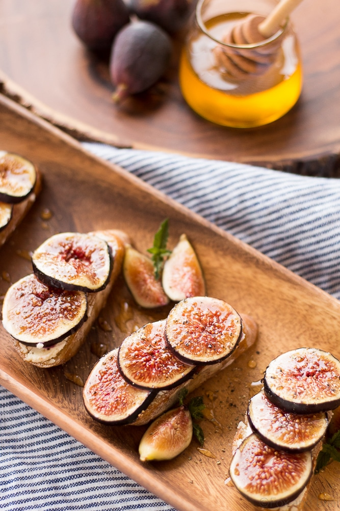 Fig and Goat Cheese Crostini with Honey - Fox and Briar