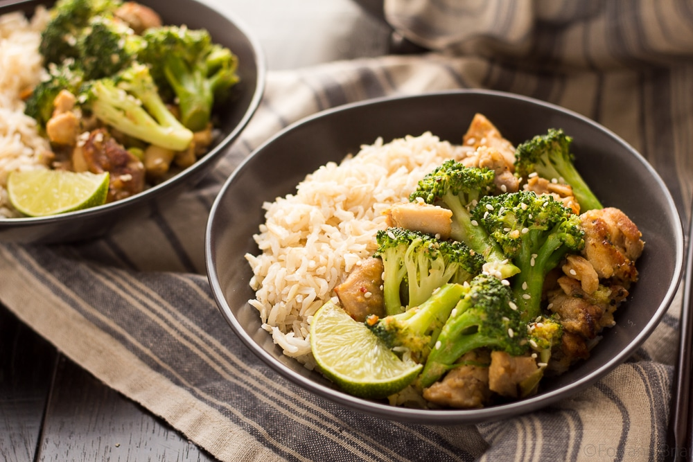 Peanut Sauce Chicken And Broccoli Bowls Fox And Briar