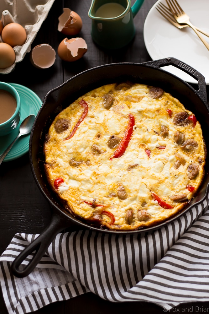 This Sausage, Red Pepper and Goat Cheese Frittata makes an easy, one pan dinner or breezy brunch. High protein, low carb, gluten free and easy to make! #sponsored