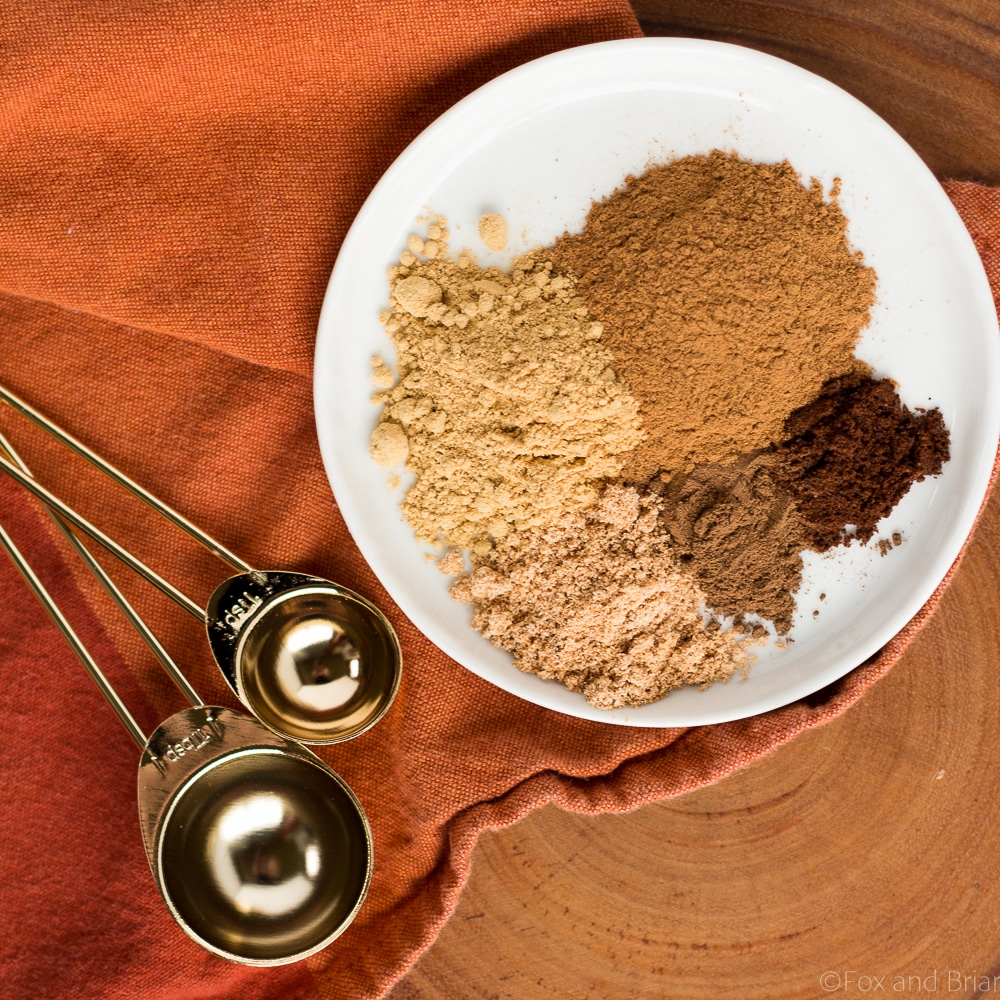 This pumpkin pie spice mix is so easy to make, and way better than the store bought version! Just five spices will make all your fall baking complete!