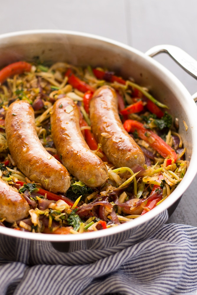 This One Pot Paleo Sausage and Slaw Skillet the perfect weekend dinner! A little shortcut makes it super quick and easy, plus it is paleo, whole 30, gluten free and low carb.
