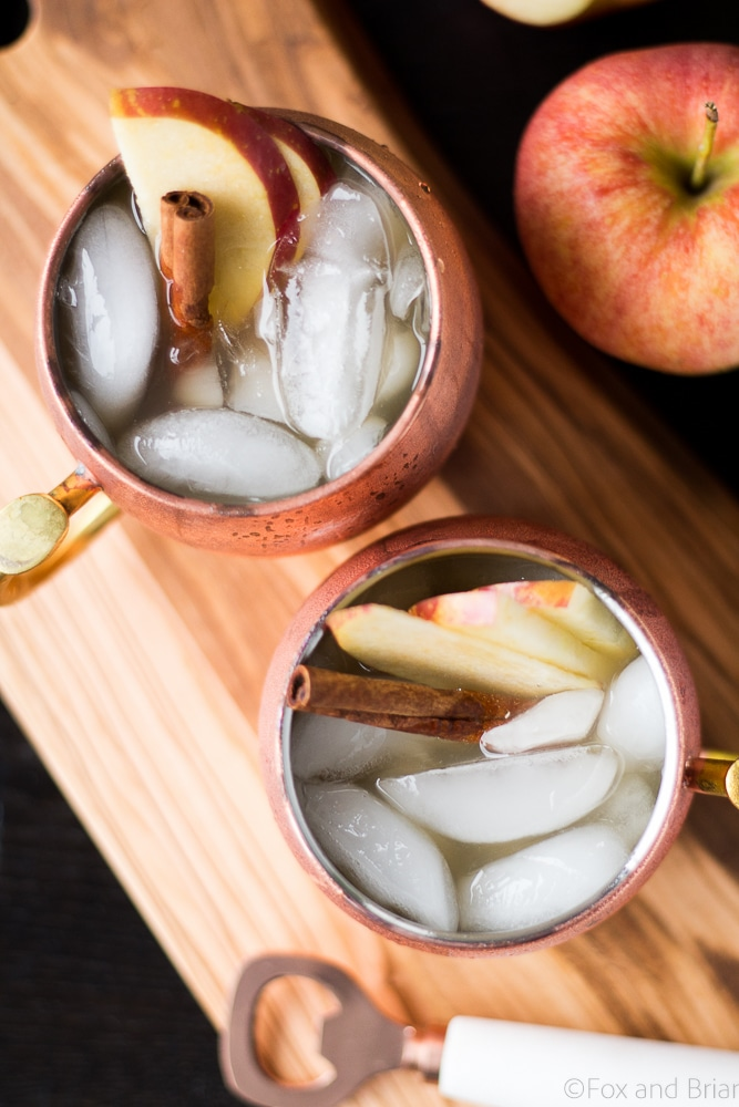 This Apple Cider Irish Mule is a fall twist on the classic! Apple Cider, ginger beer and whiskey make an Autumn cocktail to cozy up with on a cold day!