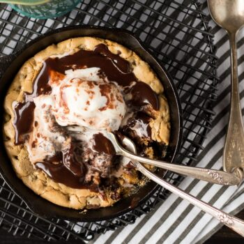 Chocolate Chip Cookie Blondie Skillet Sundae For Two (Cookbook Review and Giveaway!)