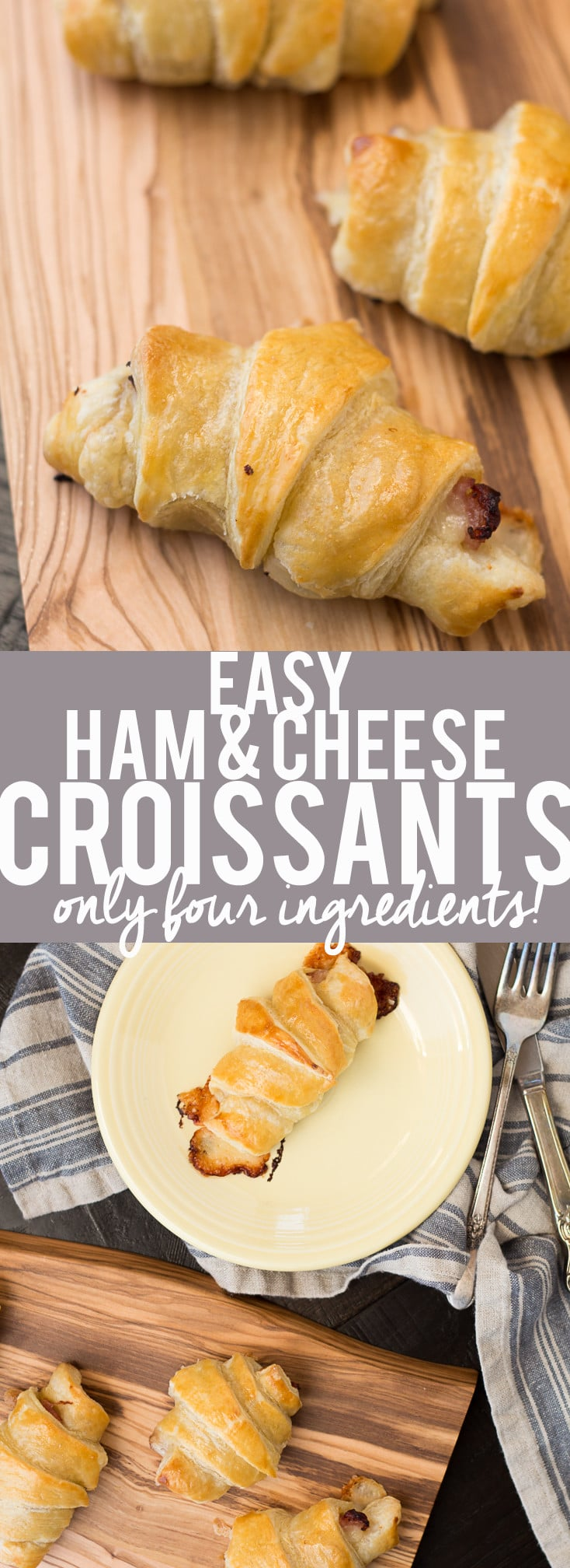 These Easy Ham and Cheese Croissants only use four ingredients and can be made in about 20 minutes! Using ham, Gruyère and puff pastry, they are delicious for breakfast, lunch or dinner. Great for using up leftover ham from the holidays!