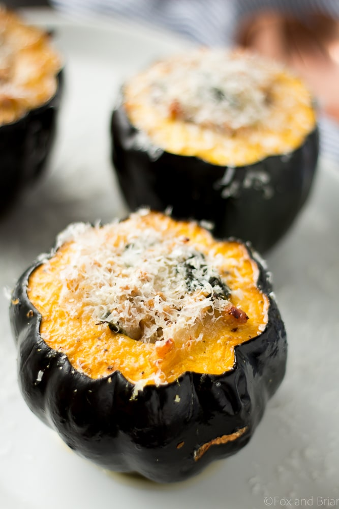 This Sausage and Kale Stuffed Acorn Squash is a hearty meal on a cold fall or winter day, sure to keep you satisfied.