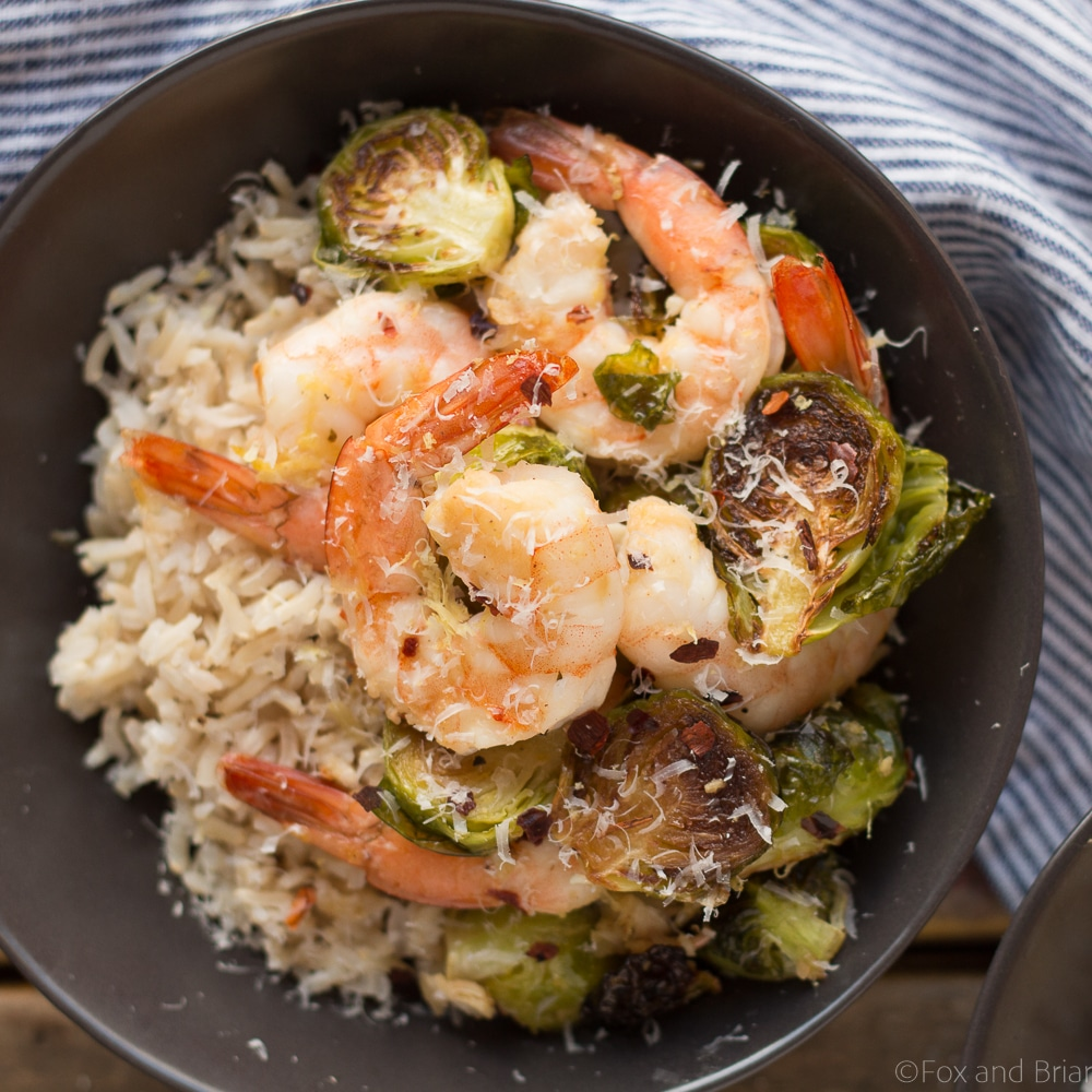 Roasted shrimp and brussels sprouts fox and briar What to make with shrimp for dinner