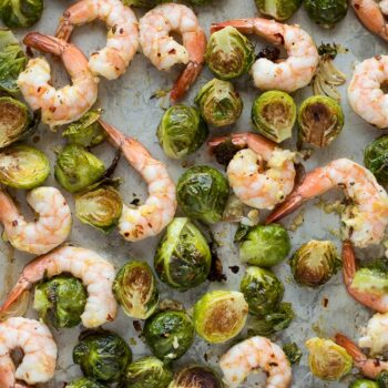 Roasted Shrimp and Brussels Sprouts