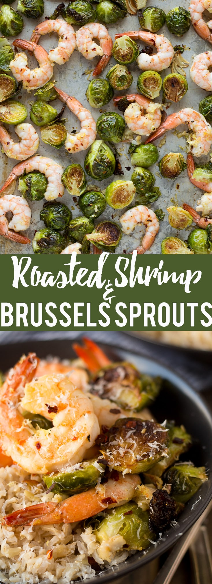 These Roasted Shrimp and Brussels Sprouts are a quick and easy dinner. Lemon and garlic make this a flavorful sheet pan dinner you can make in about 20 minutes!