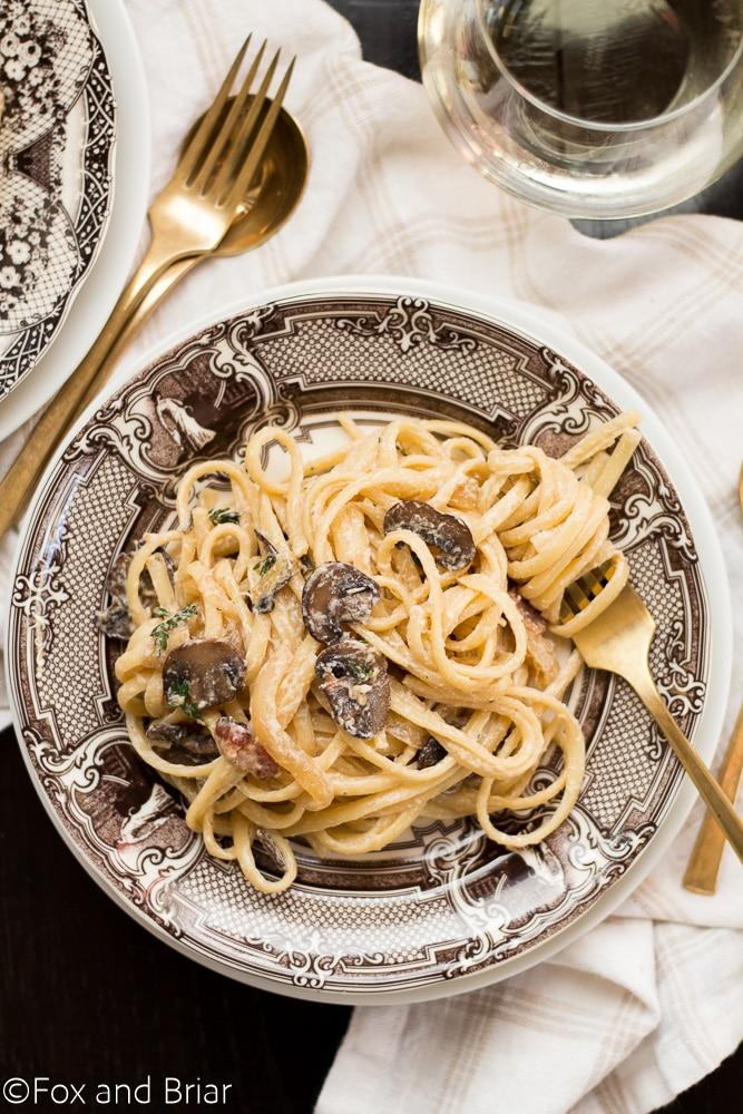 30 minute Creamy Bacon Mushroom Pasta