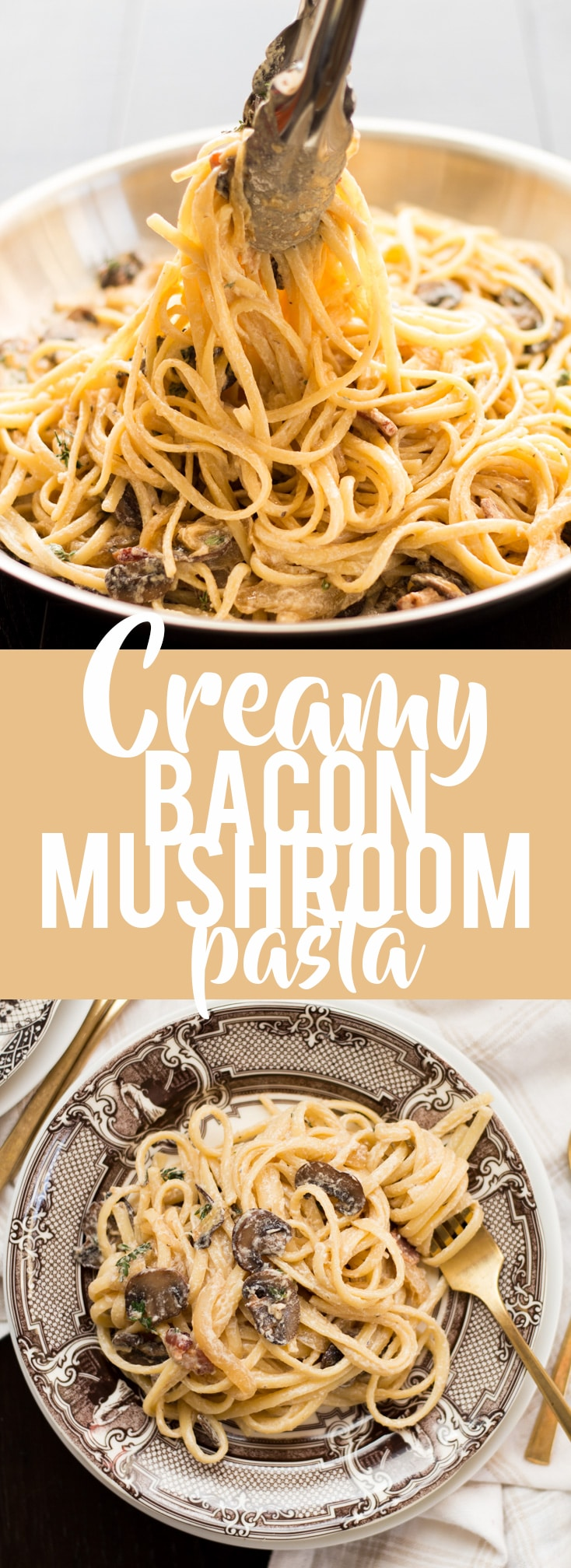 This Creamy Bacon Mushroom Pasta is a perfect date night at home meal, or even just an average weeknight! It is also deceptively fast and easy to make, coming together in under 30 minutes. Savory bacon and mushrooms in a creamy sauce, all tossed together with pasta will have you coming back for seconds!