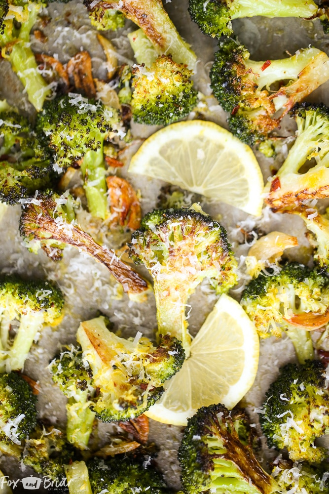 Lemon Parmesan Roasted Broccoli - Fox and Briar