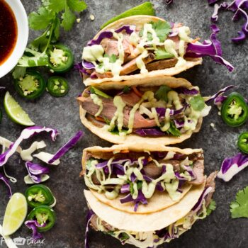 Honey Lime Steak Tacos with Avocado Crem...