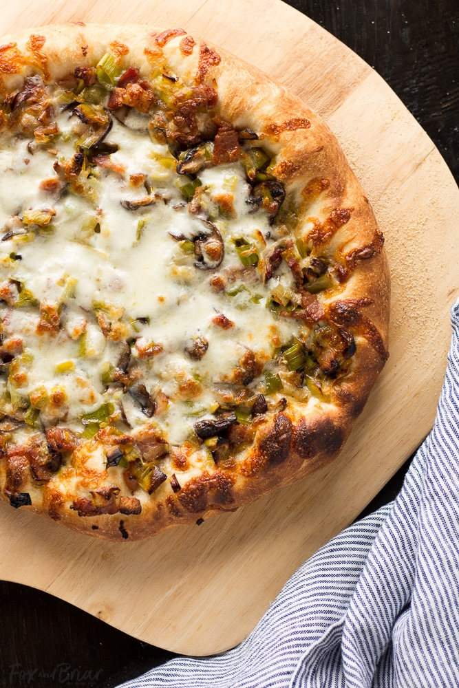 Leek, Bacon and Mushroom Pizza   Spring Pizza Recipe