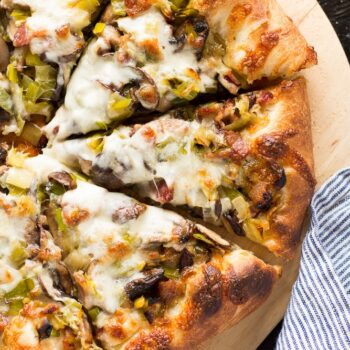 Leek, Bacon and Mushroom Pizza