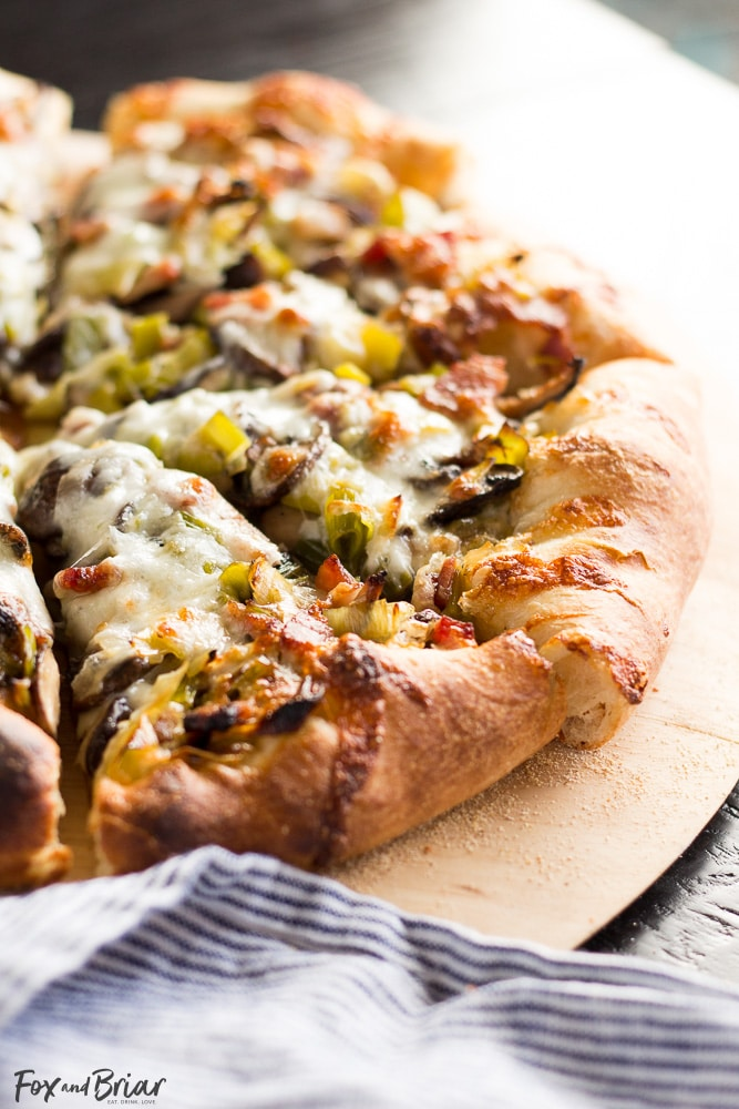 Leek, Bacon and Mushroom Pizza | Spring Pizza Recipe