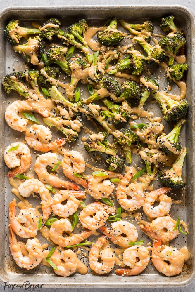 Sheet Pan Peanut Sauce Shrimp And Broccoli Fox And Briar