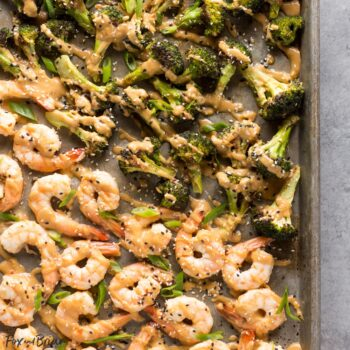 Sheet Pan Peanut Sauce Shrimp and Brocco...